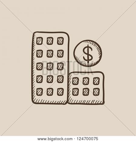 Condominium with dollar symbol sketch icon.