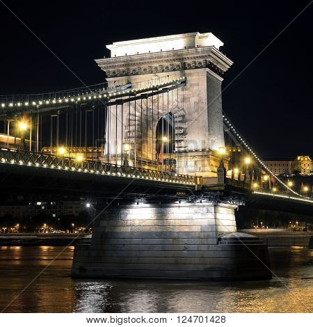 Budapest Hungary. Szechenyi Chain Bridge on the Danube river at night