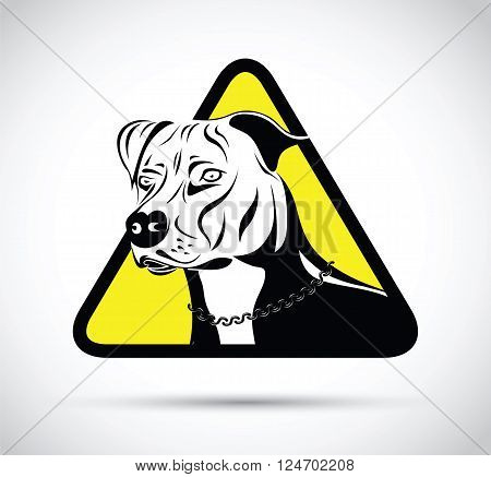 a yellow and black staffordshire terrier dog sign