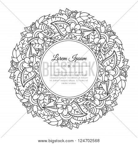 Black and white hand drawn floral doodle frame. Flowers leaves and paisley. Abstract zentangle background. Good for cards invitations wedding cover flyer calendar brochure. Vector illustration