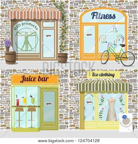 Set of buildings healty lifestyle set.Bio products shop. Eco clothing shop.  Dress in the window. Fresh juice bar building. Fitness center. Bike at the fore. Facade of stone.EPS10