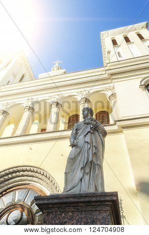 Statue of St. Peter at the entrance of the Lutheran Church of Saints Peter and Paul founded in 1838 in St. Petersburg Russia poster
