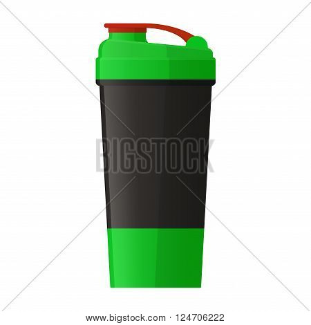 Vector illustration. Sports shaker for protein powder and gainer isolated on a white background. Healthy nutrition and fitness