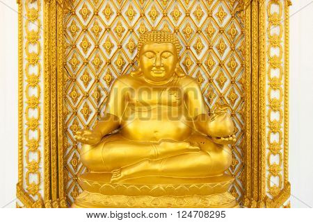 Golden fat buddha statue in thai temple