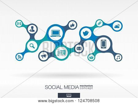 Social media. Growth abstract background with integrated metaballs, integrated icon for digital, internet, network, connect, communicate, technology, global concepts. Vector interactive illustration