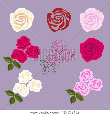 Set of rose flowers. Flat disign for sticker, tattoo etc.