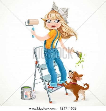 Cute girl in overalls standing on a stepladder with a paint roller and frightened dog playful isolated on white background