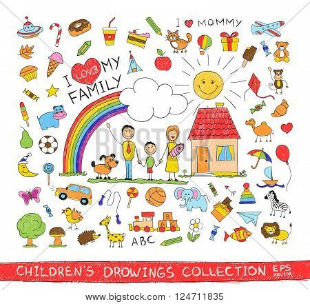 Child hand drawing illustration of happy family with kids near home, dog, sun, rainbow. Cartoon sketch image of children pencil painting vector doodles set