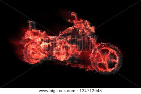 Abstract illustration of fiery motorcycle on black background