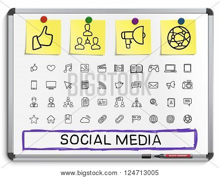 Social media hand drawing line icons. Vector doodle pictogram set. sketch sign illustration on white marker board with paper stickers. post, like, blog, forum, share, online, profile, relationship.