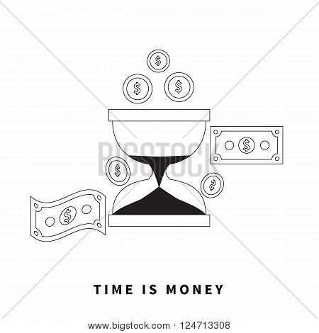 Time is money concept. Hourglass coins. Business currency and clock, dollar saving, watch and cash, sandwatch and monetary. Time management vector illustration. Black thin line on background