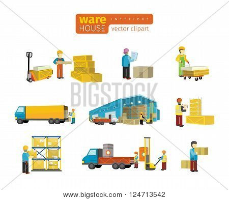 Set of equipment delivery process of the warehouse. Interior logisti and factory, warehouse building exterior, business delivery, storage cargo vector illustration