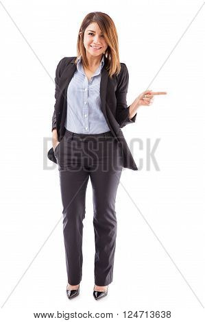 Cute Salesperson Pointing Right