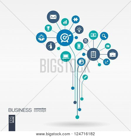 Abstract background with connected circles, integrated flat icons. Growth flower concept for business, communication, marketing research, strategy, mission, analytics. Vector interactive illustration.