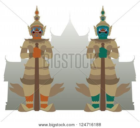 vector of guardian giant with temple in Thailand