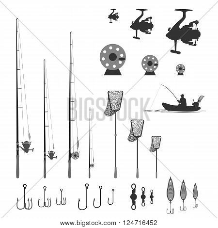 rubber boat. landing net and Spinning near baubles, hooks and rotary swivel. vector illustration
