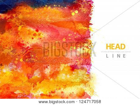 Bright watercolor stains with magenta, orange, blue blots