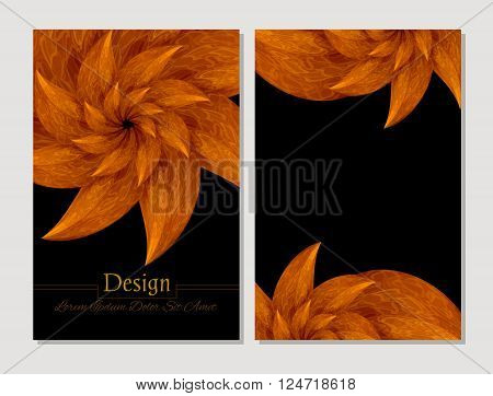Set of vector design templates. Corporate Identity kit or business kit with artistic abstract colorful design for your business. Vector abstract booklet cover. Beauty brochure. Orange and black