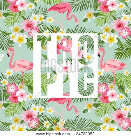 Tropical Flowers and Leaves. Tropical Flamingo Background. Vector Background. Exotic Graphic Background.