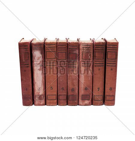 Antique book covers on white background. eight volumes of antique books with numbers from 1 to 8. Rare collection damaged shabby cover. isolated
