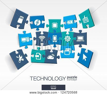 Abstract technology background, connected color puzzles, integrated flat icons. 3d infographic concept with technology, cloud computing, digital pieces in perspective. Vector interactive illustration.