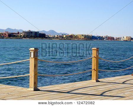 A wooden pier in El Gouna, Egypt