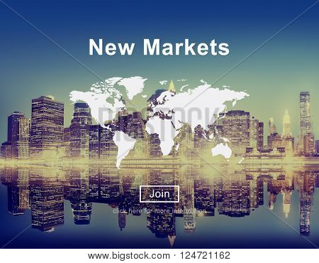 New Markets Commerce Selling Global Business Marketing Concept poster