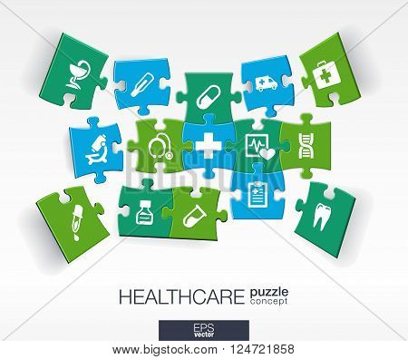 Abstract medicine background with connected color puzzles, integrated flat icons. 3d infographic concept with medical, health, healthcare, cross pieces in perspective. Vector interactive illustration.