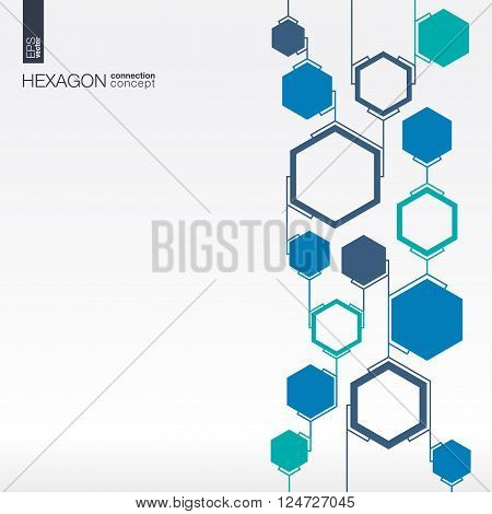 Abstract hexagon background with integrated polygons for Business Company, technology, ecology, eco friendly, energy, environment, green, bio and global concepts. Vector interactive illustration.