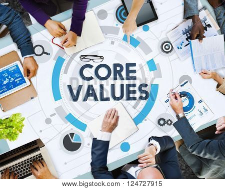 Core Values Principles Ideology Moral Purpose Concept poster