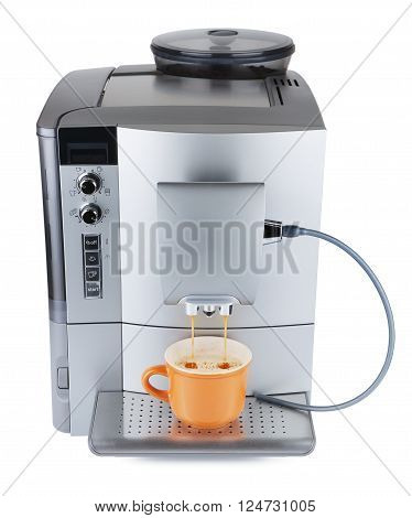 cappuccino machine with cup of coffee, isolated on white