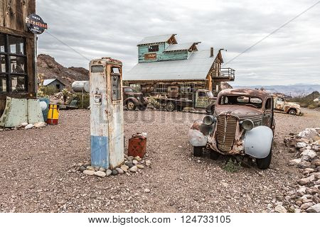 Old Wooden House And Rusty Old Fuel Pump In Nelson Nevada Ghost Town