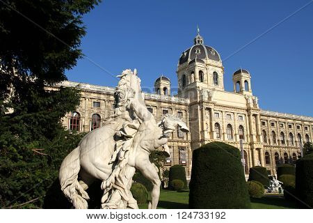 The Museum of Natural Historyin Vienna. View from the Maria-Theresien Place.