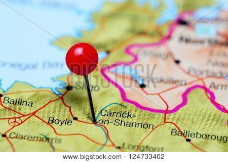 Carrick-on-Shannon pinned on a map of Ireland