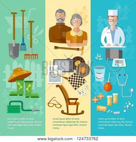 Nursing home banner retired hobby social care and protection of the elderly vector illustration