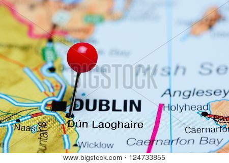 Dun Laoghaire pinned on a map of Ireland
