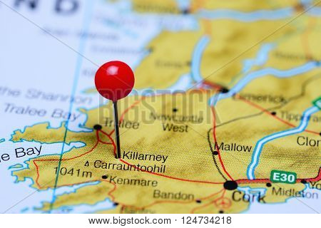 Killarney pinned on a map of Ireland