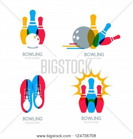 Set of vector colorful bowling logo icons and symbol. Bowling ball bowling pins and shoes illustration. Trendy design elements isolated on white background.