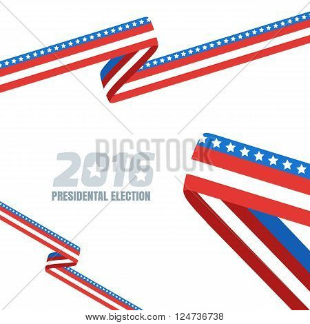 Abstract Vector Background With Ribbon In Colors Of National United States Flag.