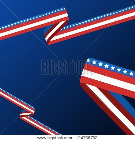 Abstract Vector Blue Background With Ribbon In Colors Of National United States Flag.