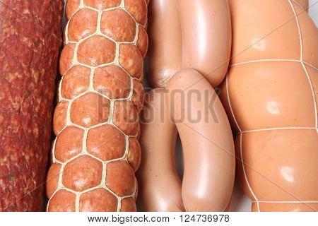 Various kinds of sausage close up food