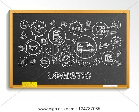 Logistic hand draw integrated icons set on school board. Vector sketch infographic illustration. Connected doodle pictogram, distribution, shipping, transport, services, container interactive concepts
