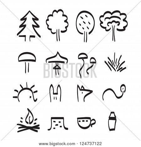 Forest Items Vector Black Line Art Set