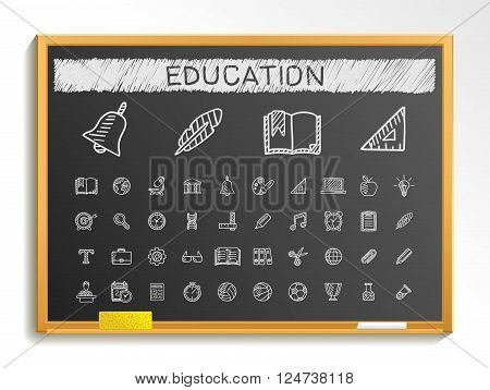 Education hand drawing line icons. Vector doodle pictogram set. chalk sketch sign illustration on blackboard with hatch symbols, school, elearning, knowledge, learn, subjects, teaching, college.
