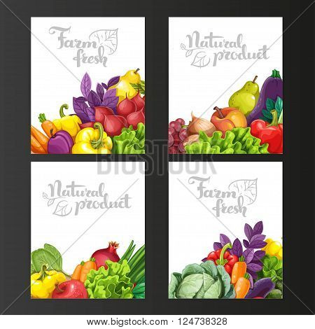 Four Vertical Banners With Fresh Fruits And Vegetables On A Blac