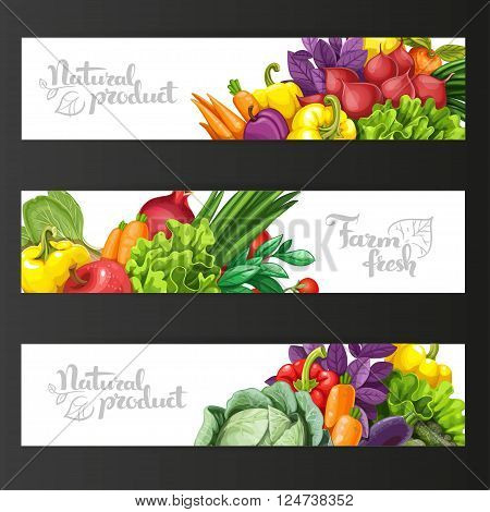 Three Horizontal Banners With Fresh Fruits And Vegetables On A B