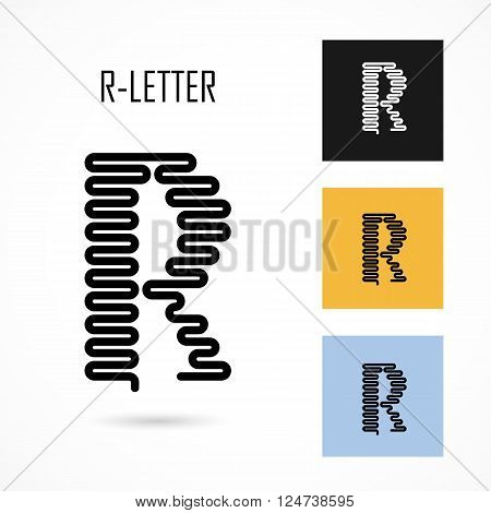 Creative R- letter icon abstract logo design vector template.Creative R- alphabet vector design.Business and education creative logotype symbol.Vector illustration