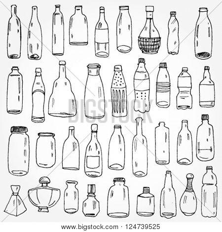 Set of Bottles Hand Drawn