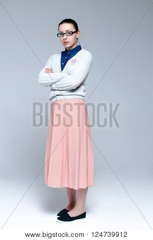 Young woman wearing stylish clothes with glasses ** Note: Soft Focus at 100%, best at smaller sizes