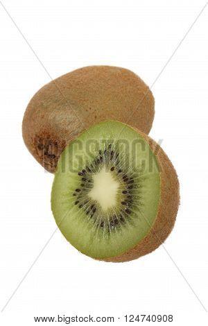 Kiwifruit and a half isolated on white background